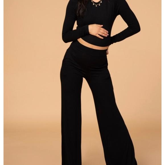 Pinkblush Pants - Maternity Black Crop Top High Waisted Pant Set